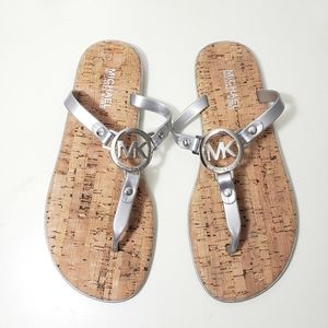 Michael Kors Charm Cork Jelly Thong Sandals Silver